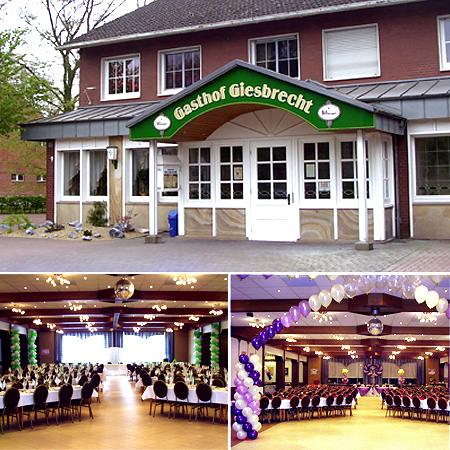 "Festsaal ""Gasthof Giesbrecht"" in Beesten - Raum Nordhorn, Rheine, Osnabrück"