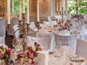 Tischdekoration für Hochzeit runde Tische