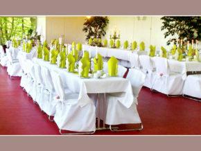 Mainzpavillion EGA-Park Erfurt Hochzeit feiern Hochzeitsdeko mit Stuhlhussen